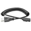 Tripp Lite P006-C08-HG10 Hospital-Grade Coiled Computer Power Cord 10A 18  AWG (NEMA 5-15P to IEC-320-C13) 8 Feet