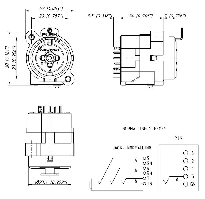 neutrik ncj10fi v combo 3 pin xlr 1 4 inch stereo switching ground rh markertek com XLR to Bare Wire Soldering XLR Cables