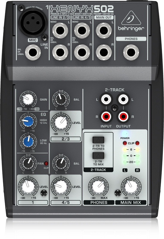 behringer xenyx 502 premium 5 input 2 bus mixer with xenyx mic preamp and british eq. Black Bedroom Furniture Sets. Home Design Ideas