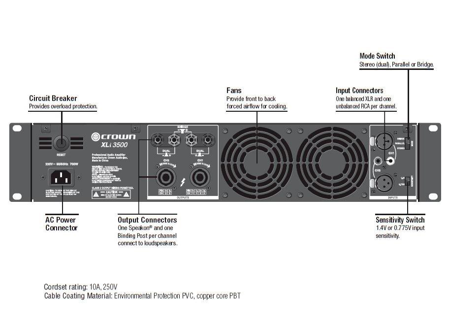 crown xli800 xliseries 600w 2 channel power amplifier. Black Bedroom Furniture Sets. Home Design Ideas