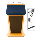 Amplivox SW3045-MH Patriot Plus Custom Solid Hardwood Fabric Top- Drawer/Light/Wireless/Mahogany