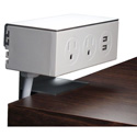 MC3 P2P2U-10 Adjustable Side-Table Mounting Deskmount Power & USB Charger with Dual Clamps