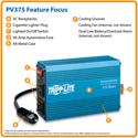 Tripp Lite PV-375 Portable Auto Inverter 375W 12V DC to AC 120V 5-15R 2 Outlet