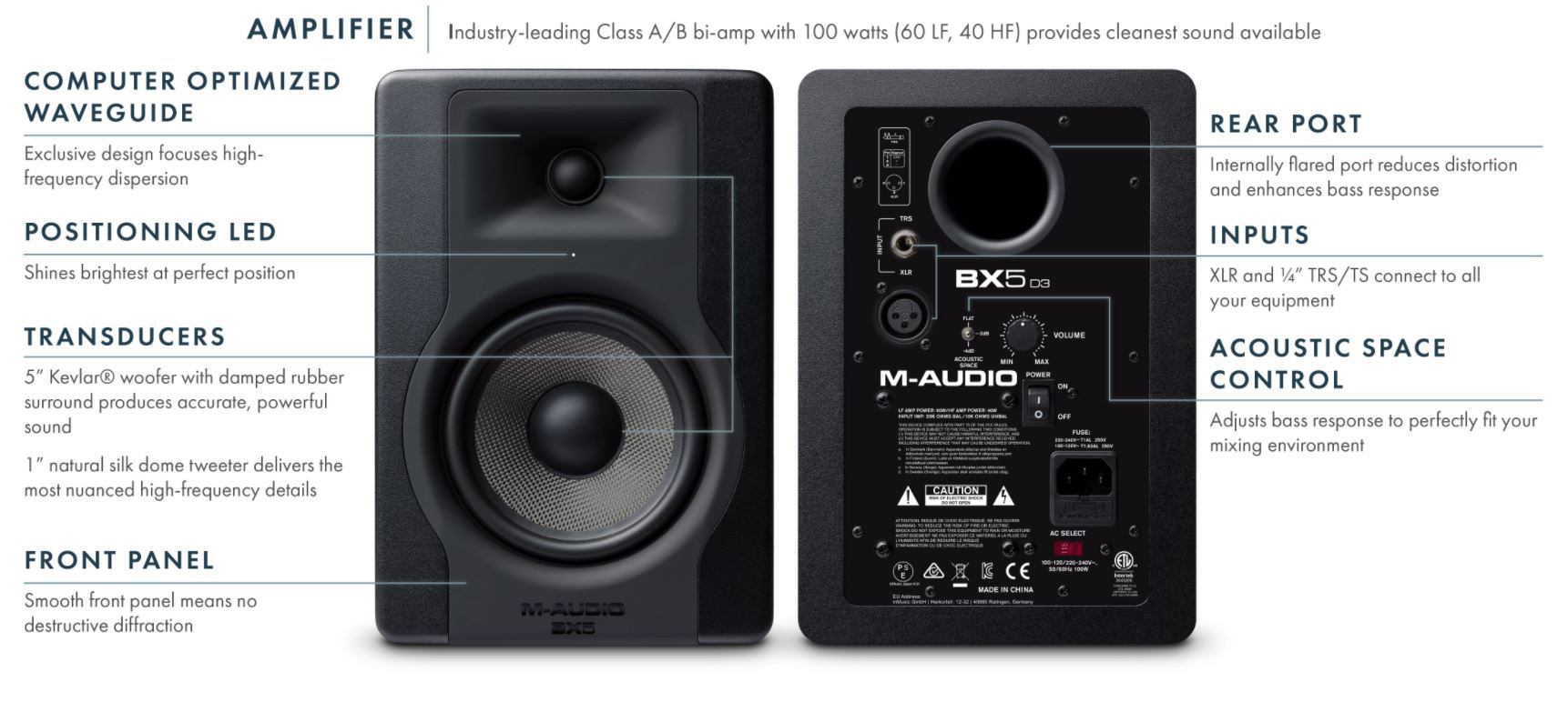 m audio bx5 d3 5 inch 2 way 100w powered studio monitor single. Black Bedroom Furniture Sets. Home Design Ideas