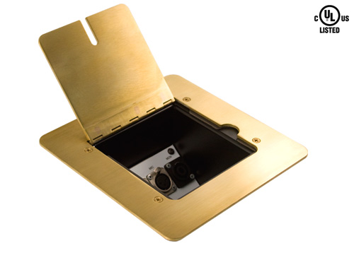 Mystery Fmca1300 Brass Flat Trim Floor Box With Blank Insert