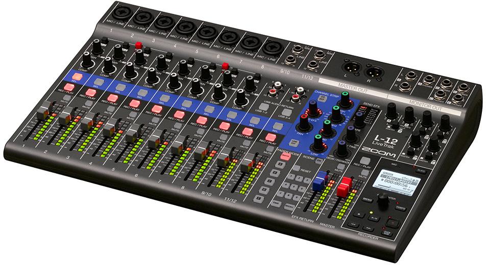 zoom l 12 livetrak 12 channel digital mixer multitrack recorder. Black Bedroom Furniture Sets. Home Design Ideas