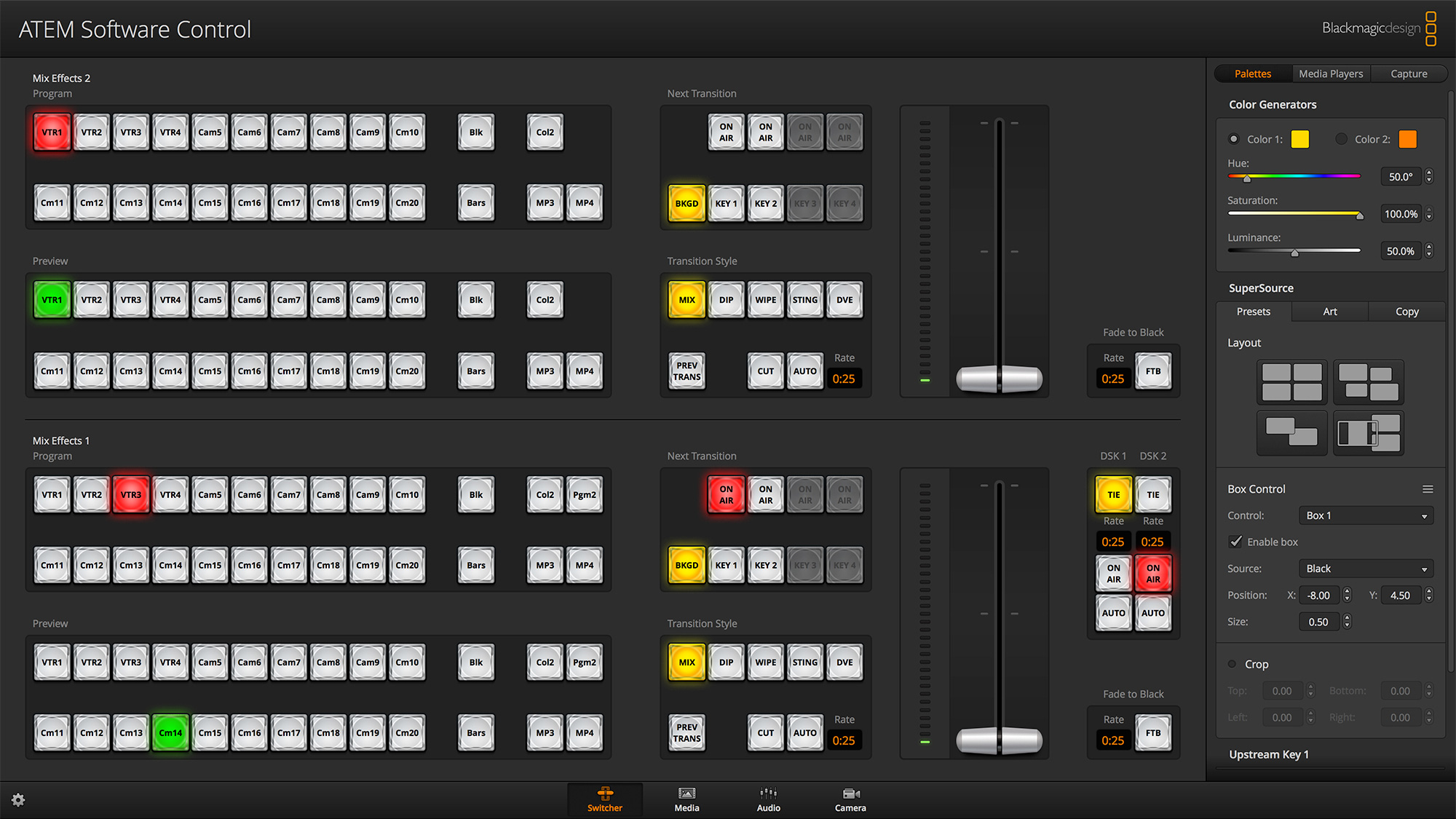 Blackmagic design swatempsw2me4k atem 2 m e production for Control m architecture