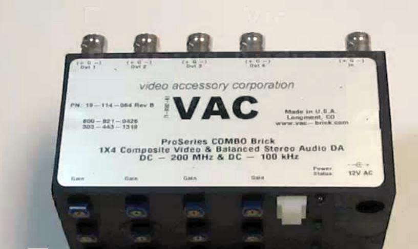 VAC 19-114-064 1x4 Combo Composite Video plus Bal Stereo Audio DA