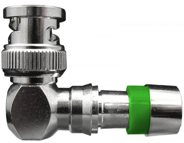 ICM FSBNC6URA RG6/6 Quad BNC Right Angle Connector (Green) 25pk