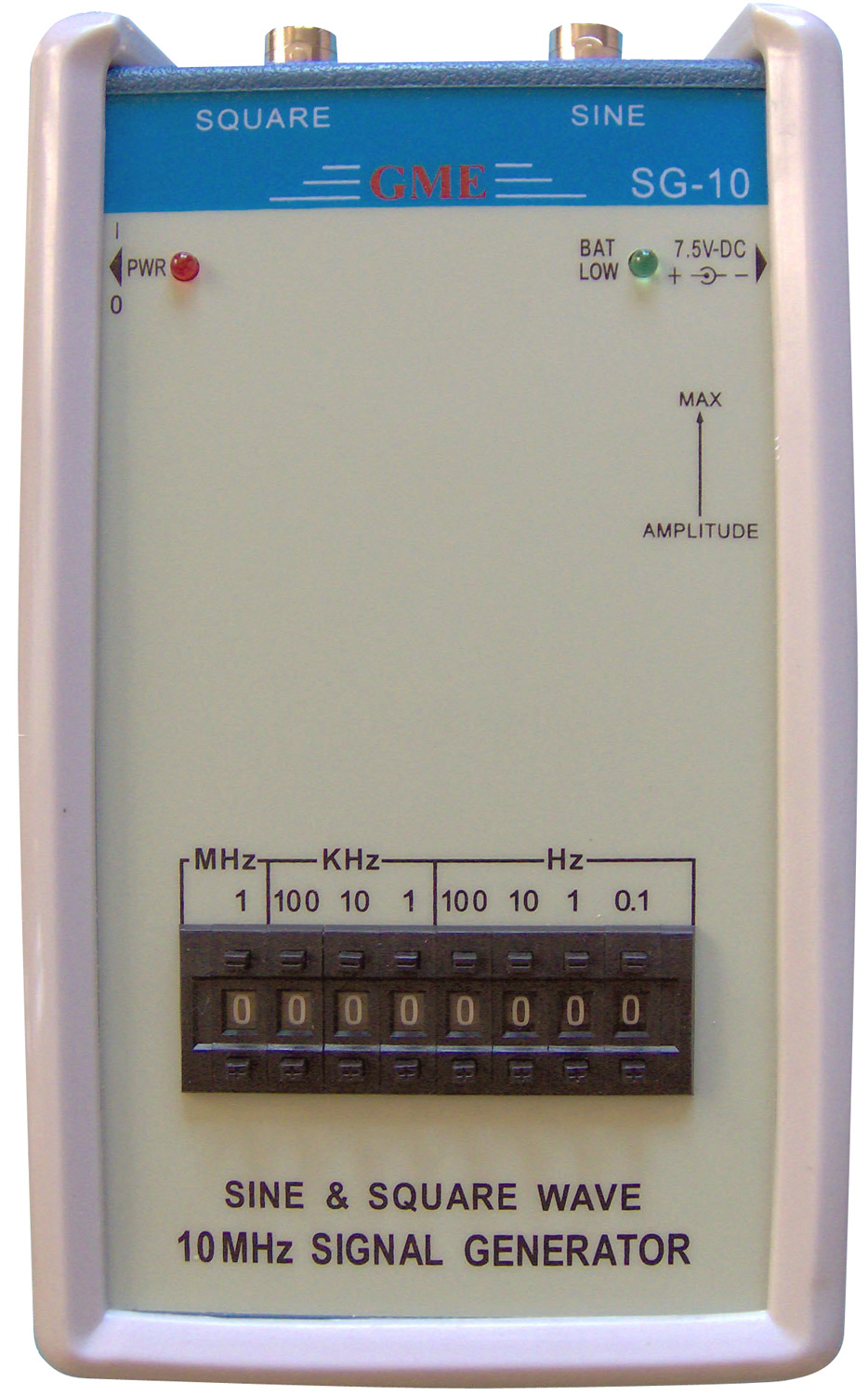 Handheld 10MHz Signal Generator With 2 BNC Output Connectors GME-SG10
