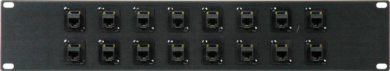 16-Point Cat6 RJ45 Feed Thru Patch Panel 2RU PB16-R4R4-C6