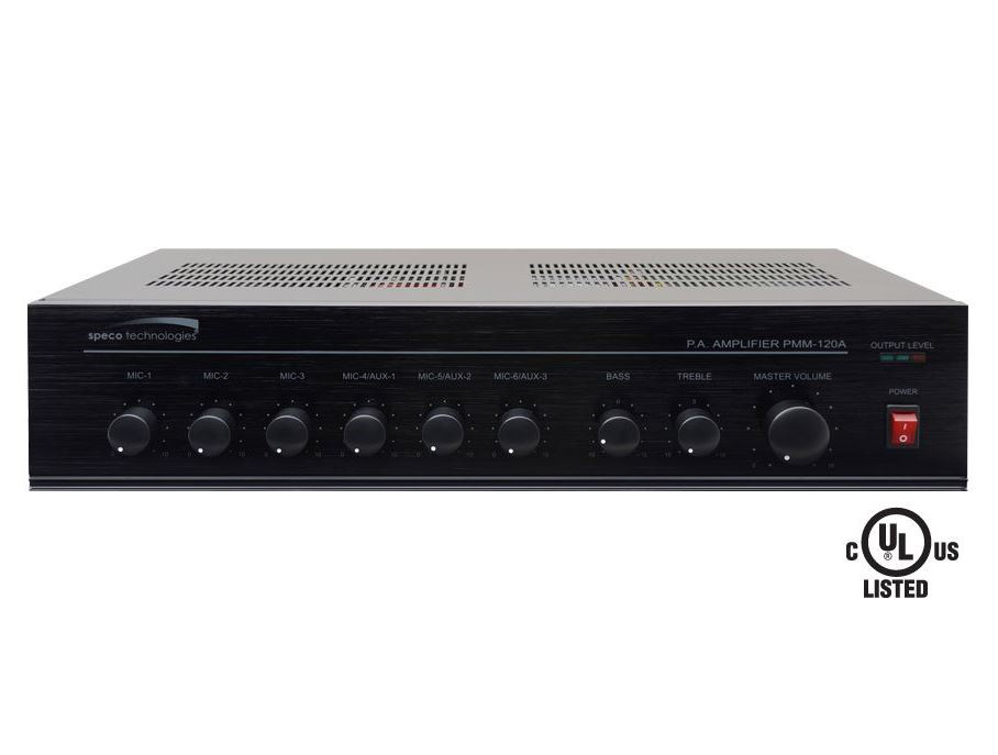SPECO 120W PA Mixer Power Amplifier with 6 Inputs PMM-120A