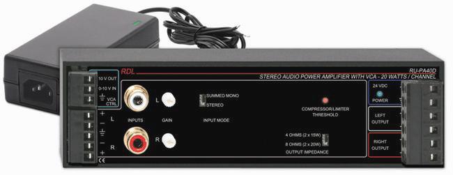 Radio Design RU-PA40D 40W Stereo Audio PowerA w/VCA & Power Supply