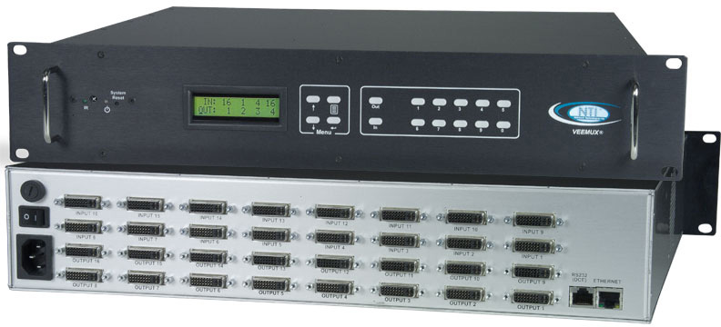 NTI SM-16X16-DVI-LCD DVI Video Matrix Switch SM-16X16-DVI-LCD