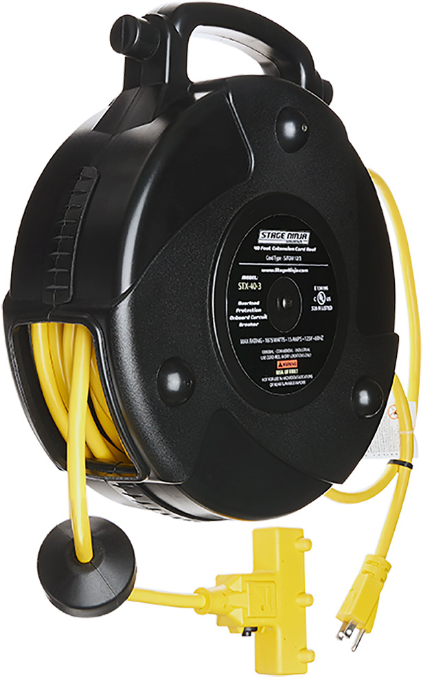 Stage Ninja STX-40-3 40 ft Retractable Power Reel With 3-Tap Head and