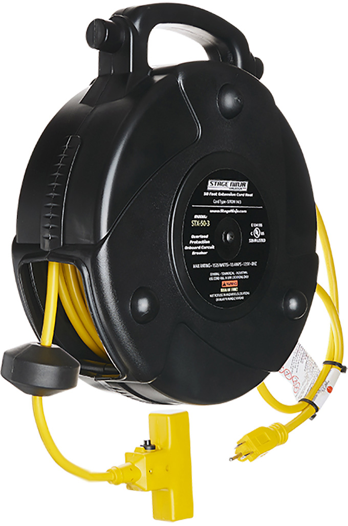 Stage Ninja STX-50-3 50 ft Retractable Power Reel with 3-Tap Head and