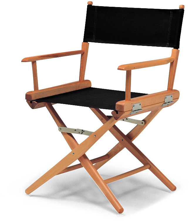 34in Table Height Directors Chair Natural Wood Frame with Black Canvas