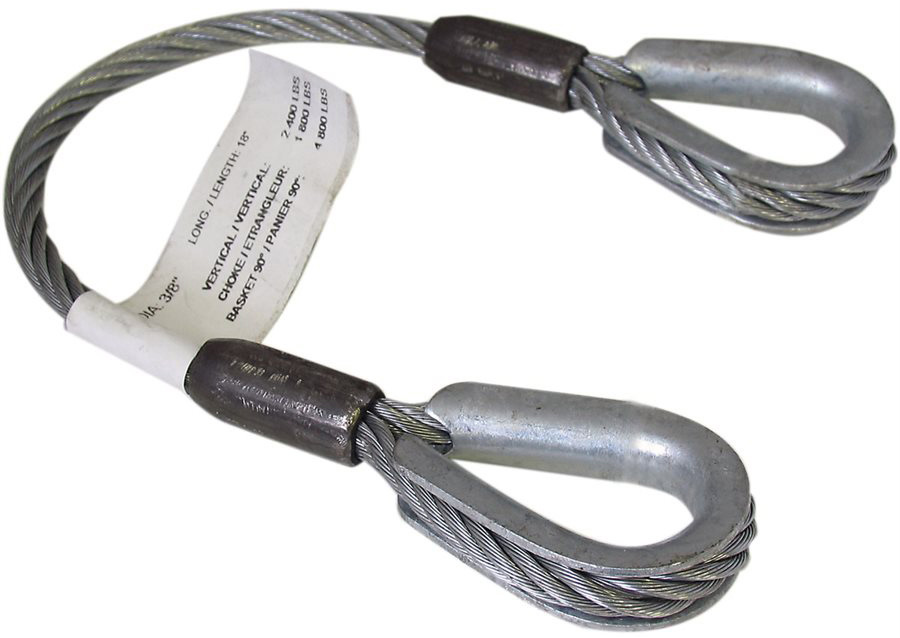 3/8x5 Foot Steel Cable Sling TCS375X05