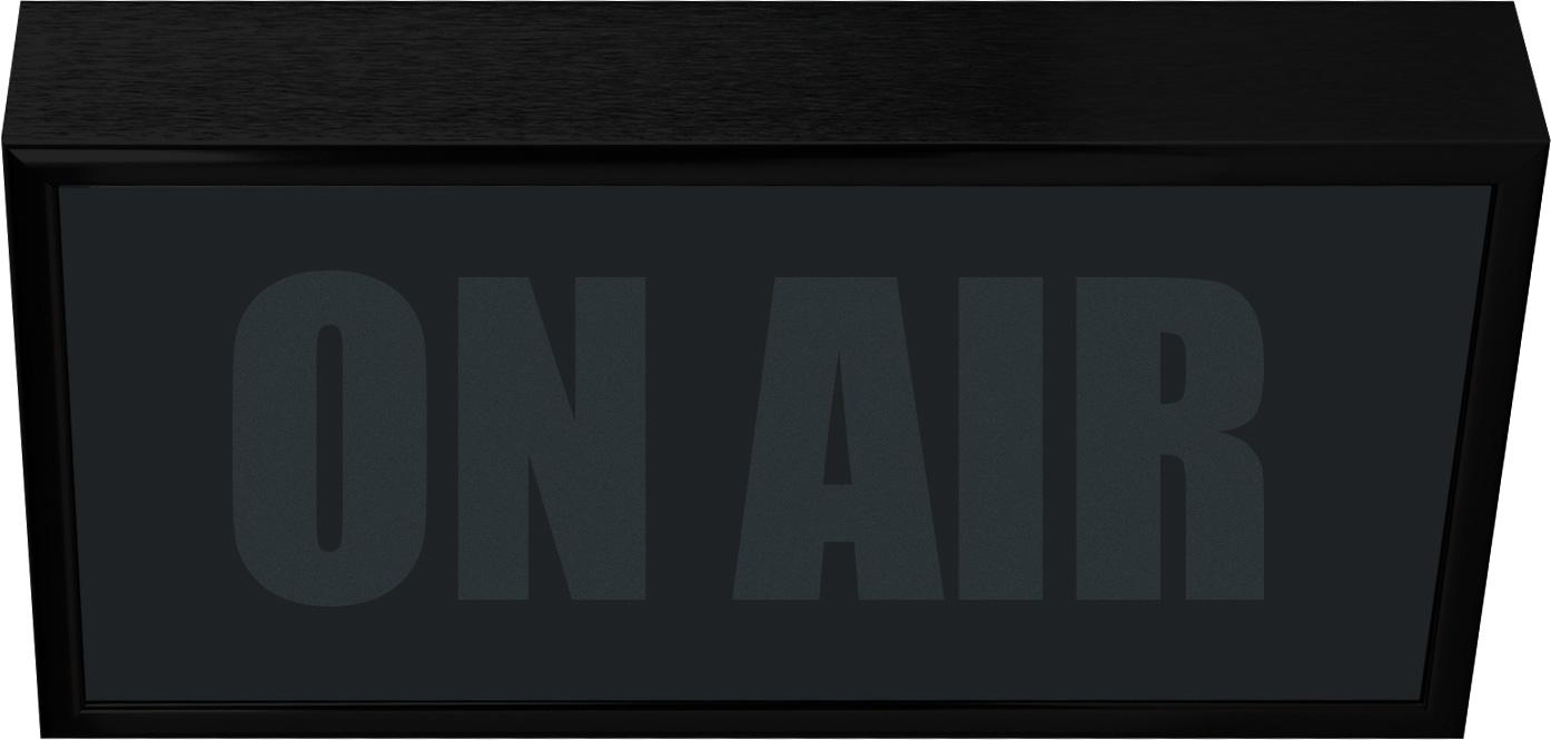 Low Profile Horizontal Studio Warning Light - ON AIR in Black Matte