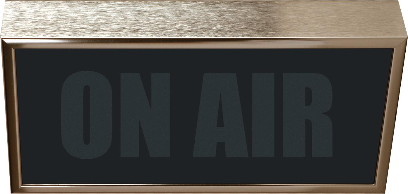 Low Profile Horizontal Studio Warning Light - ON AIR in Gold Tone