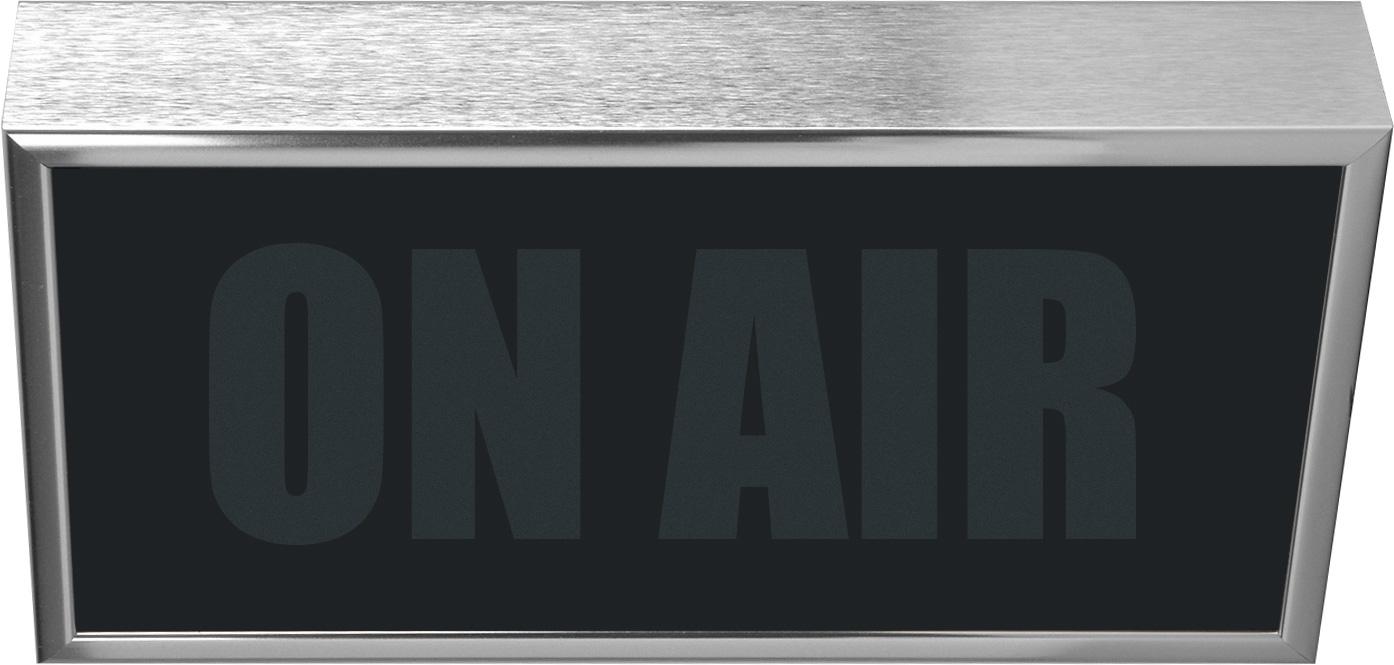 Low Profile Horizontal Studio Warning Light - ON AIR in Silver Tone