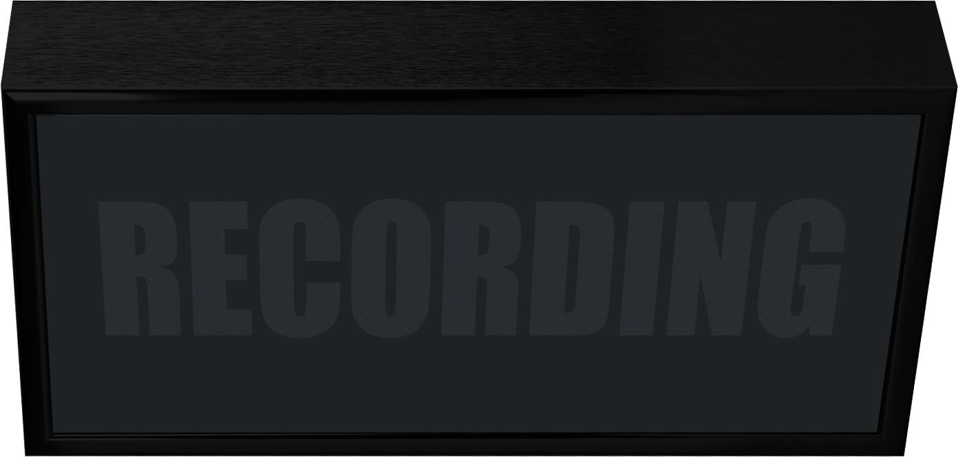 Low Profile Horizontal Studio Warning Light - RECORDING in Black Matte