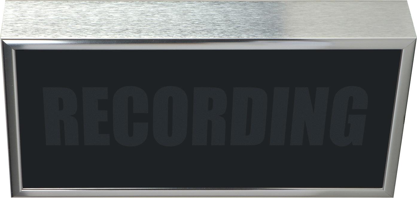 Low Profile Horizontal Studio Warning Light - RECORDING in Silver Tone
