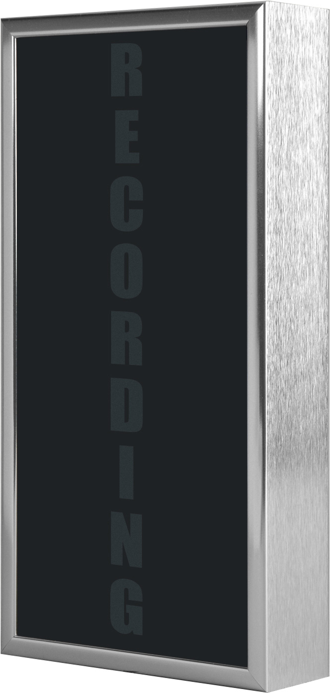 Low Profile Vertical Studio Warning Light - RECORDING in Silver Tone