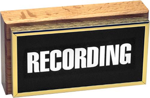 Horizontal Studio Warning Light - Recording in Gold Lettering TWL-1