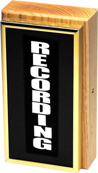 Vertical Studio Warning Light - Recording in Gold Lettering TWL-3