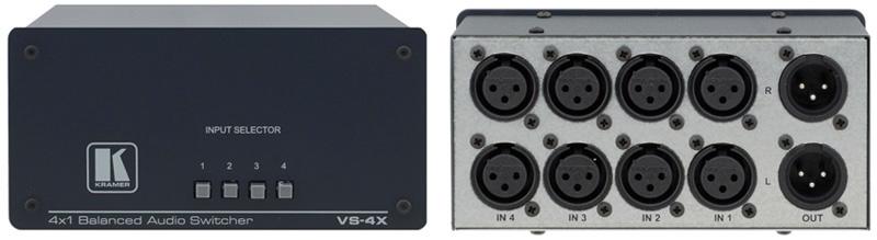 Kramer VS-4X 4x1 Balanced Audio Passive Switcher VS-4X