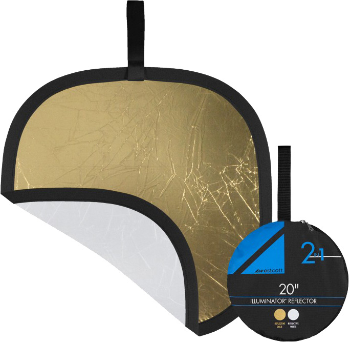 20in Gold and White Collapsible Reflector WES-1204