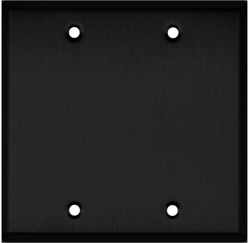 Blank Double Gang Black Anodized Aluminum Wall Plate WP2A-B