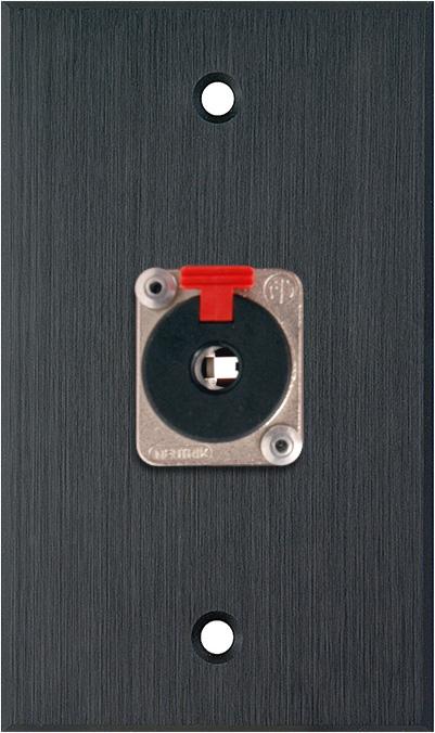 1G Black Anodized Wallplate w/1 NJ3FP6C 1/4-In. TRS Latching Jack
