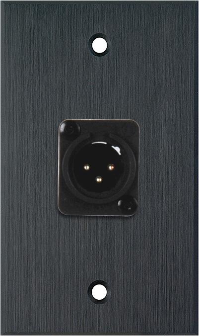 1G Black Anodized Wallplate w/Neutrik 3-Pin XLR-M-Terminal Block