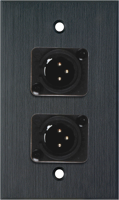 1G Black Anodized Wallplate w/2 Neutrik NC3MD-L-1-B Connectors