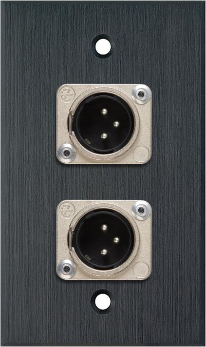 1G Black Anodized Wallplate w/2 Neutrik 3-Pin XLR-M Connectors