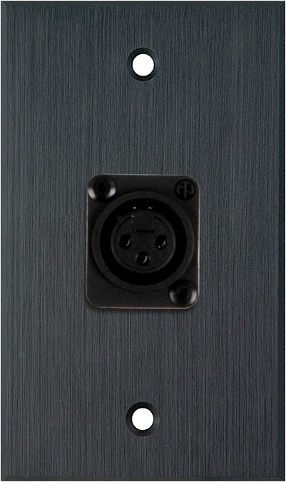 1G Black Anodized Aluminum Wall Plate with 1 NC3FD-L-1-B Connector