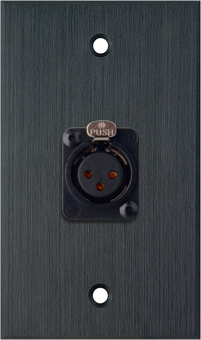 1G Black Anodized Aluminum Wall Plate w/Neutrik XLR-F-Terminal Block