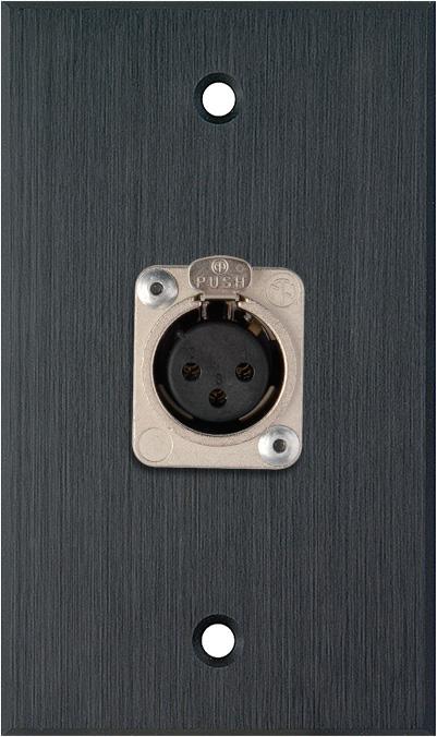 1G Black Anodized Wallplate w/1 Neutrik 3-Pin XLR-F Connector