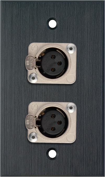 1G Black Anodized Wallplate w/2 Neutrik 3-Pin XLR-F Connectors
