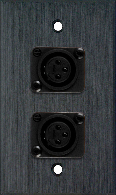 1G Black Anodized Aluminum Wall Plate w/2 Latchless 3-Pin Female XLRs
