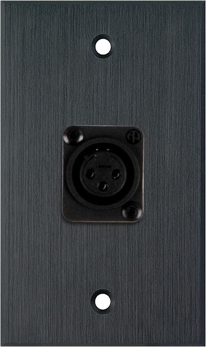 1G Black Anodized Wallplate w/Plastic Latchless 3-Pin XLR Female
