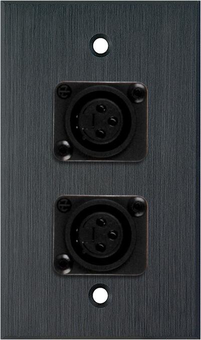 1G Black Anodized Wallplate w/2 Plastic Latchless 3-Pin Female XLR