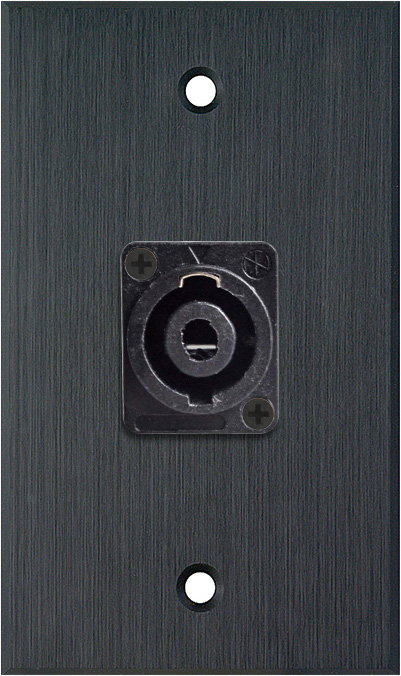 1G Black Anodized Wallplate w/One 4-Pole Speakon Male Connector