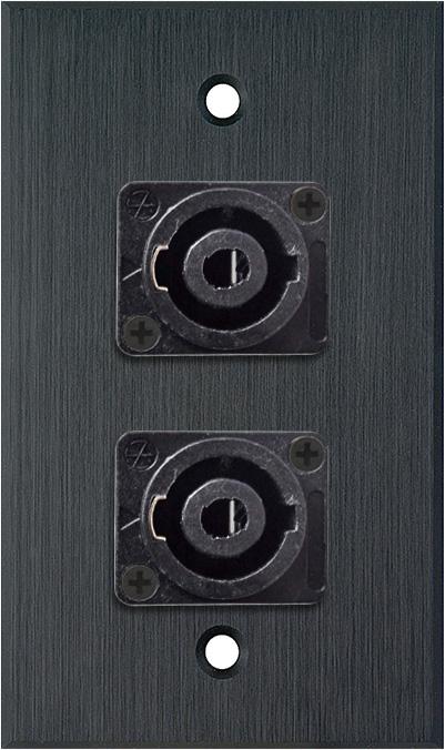 1G Black Anodized Wallplate w/Two 4-Pole Speakon Male Connectors