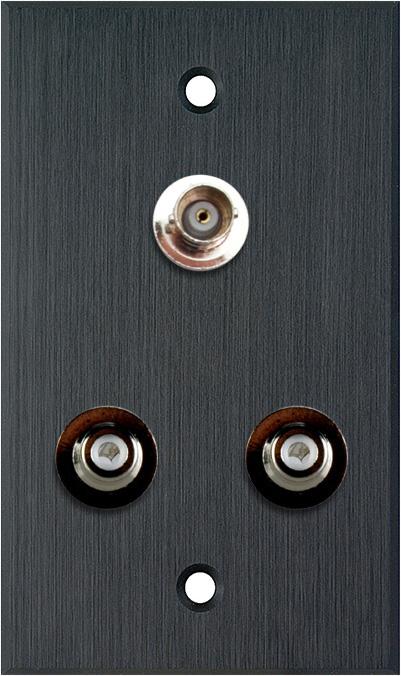 1G Black Anodized Aluminum Wall Plate w/2 RCA Barrels & 1 BNC Barrel