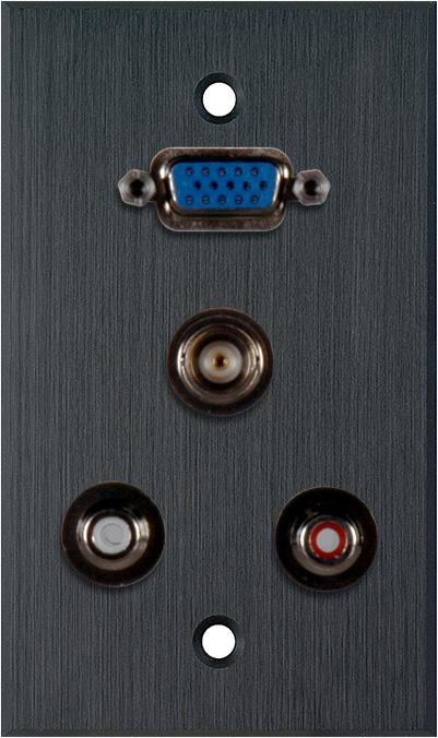 1G Black Anodized Wall Plate w/1 HD15 VGA/2 RCA Barrels & 1 BNC Barrel