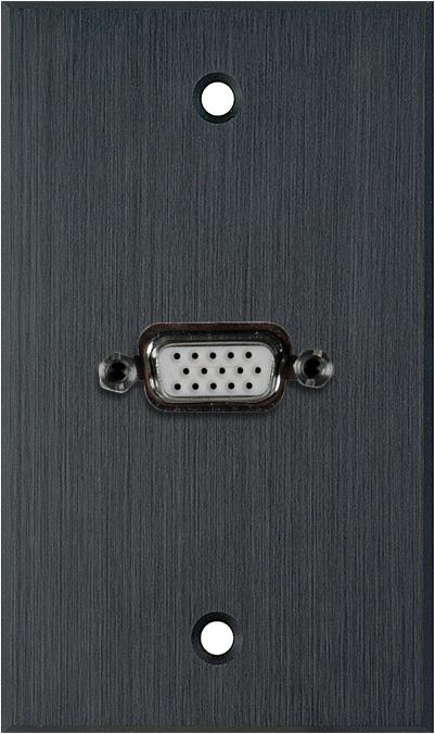1G Black Anodized Wallplate w/1-HD 15-Pin Female Rear Solder Points
