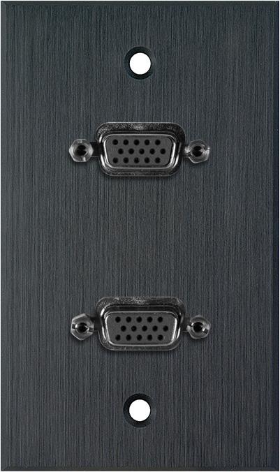 1G Black Anodized Wallplate w/Two VGA HD 15-Pin Female Barrels